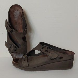 Mephisto Terie Brown Platform Wedge Leather Sandal